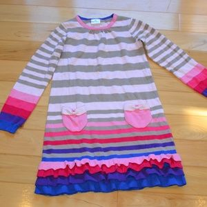 Hanna andersson 150 12 sweater dress pink tan blue